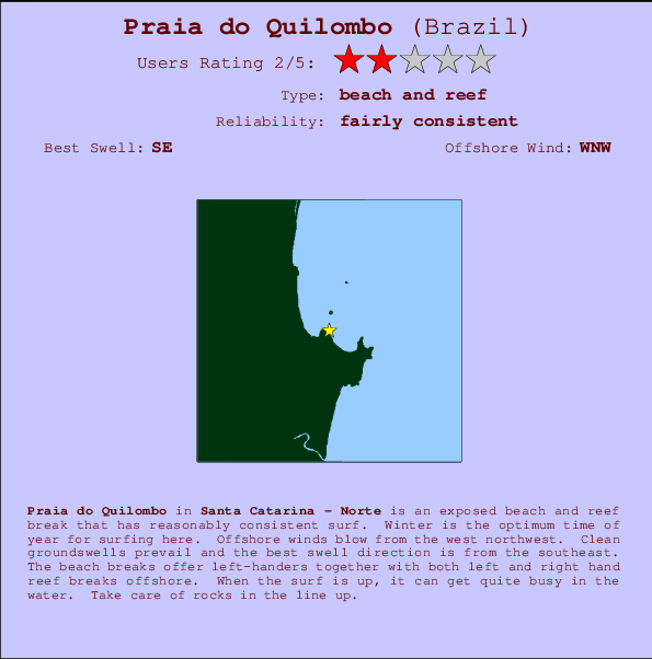 Praia do Quilombo break location map and break info
