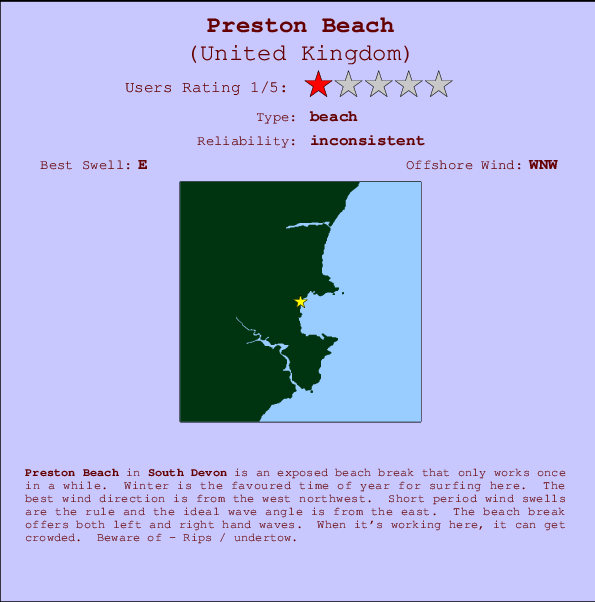 Preston Beach break location map and break info