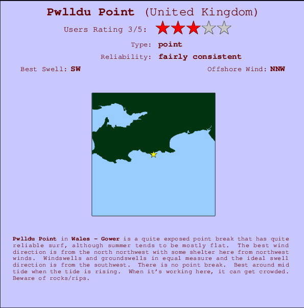 Pwlldu Point break location map and break info