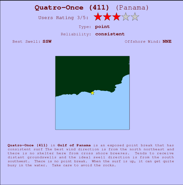 Quatro-Once (411) break location map and break info