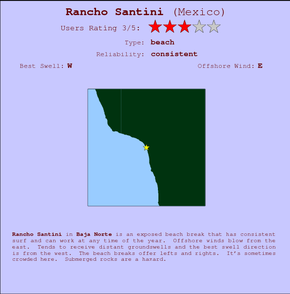 Rancho Santini break location map and break info