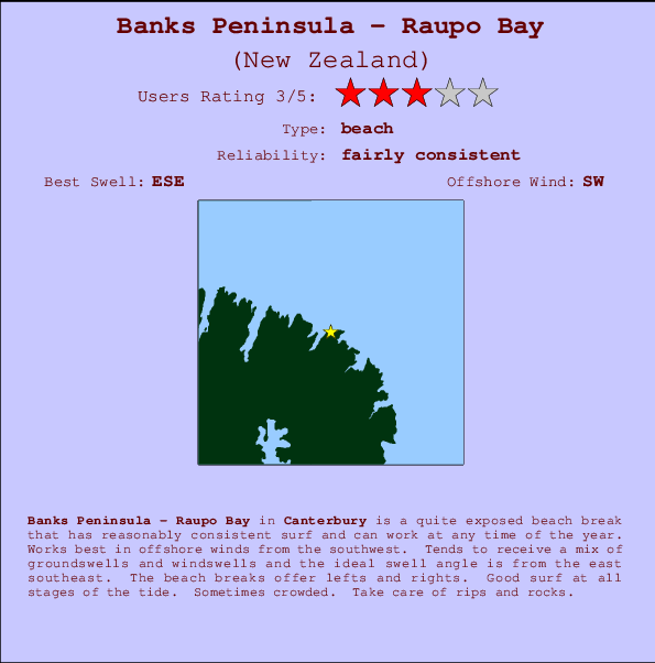 Banks Peninsula - Raupo Bay break location map and break info