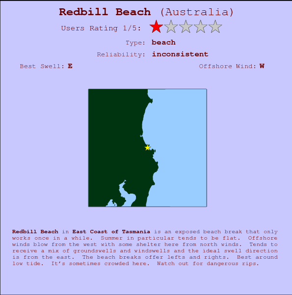 Redbill Beach break location map and break info