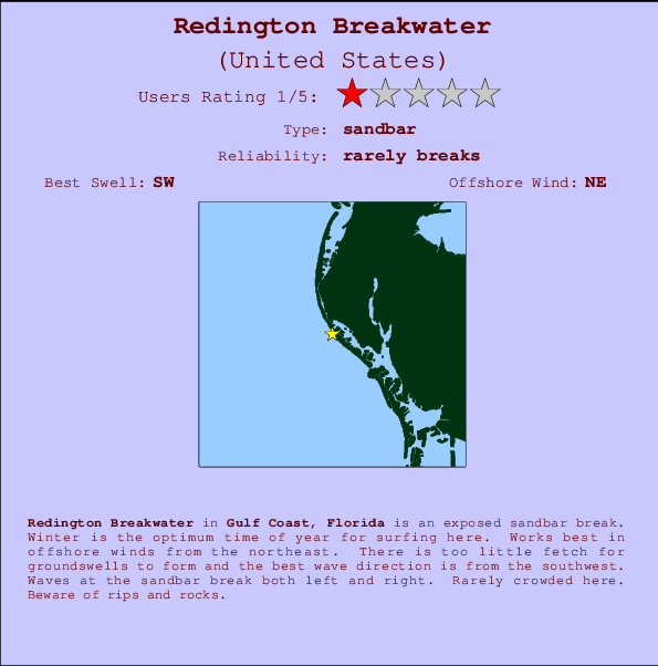 Redington Breakwater break location map and break info