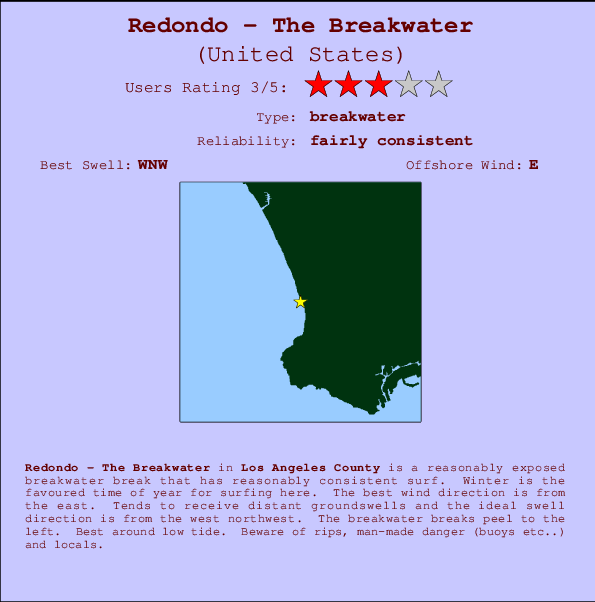 Redondo - The Breakwater break location map and break info