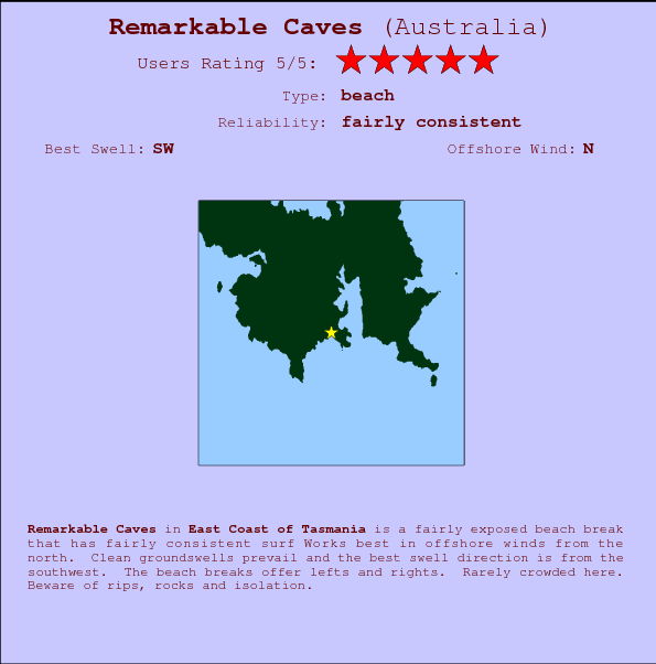 Remarkable Caves break location map and break info