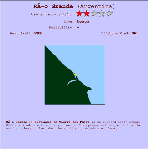 Río Grande break location map and break info