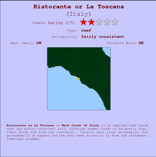 Ristorante or La Toscana break location map and break info