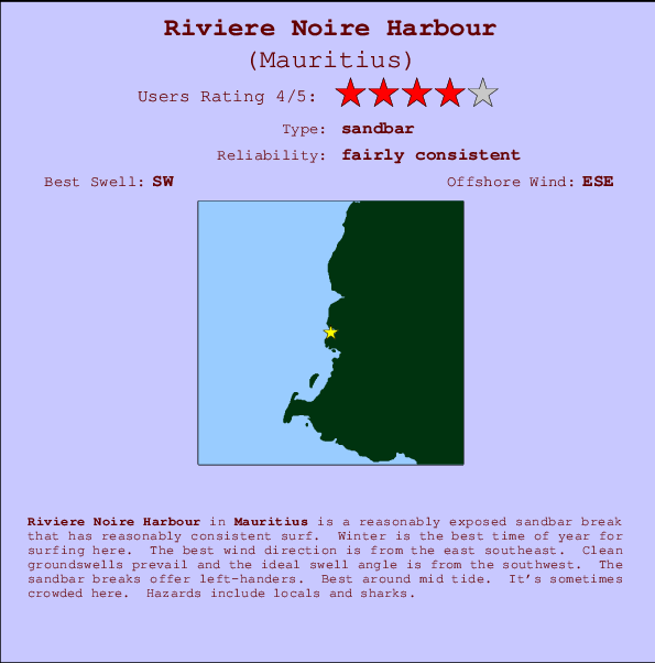Riviere Noire Harbour break location map and break info