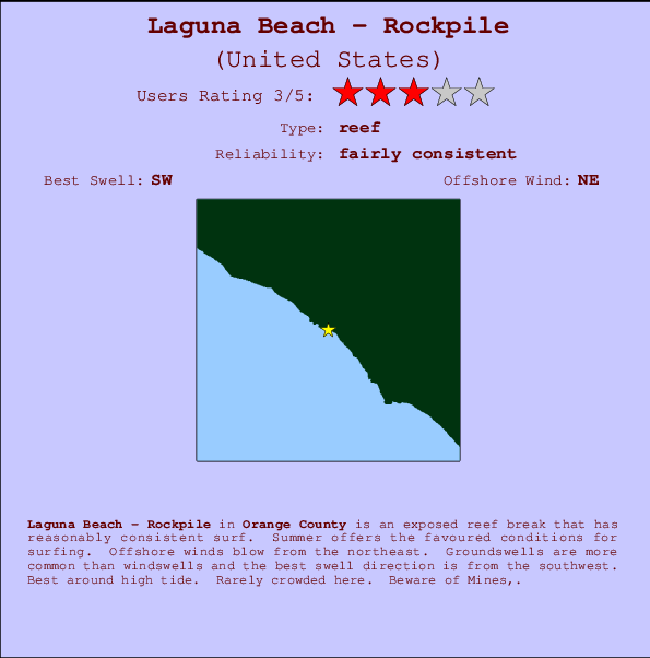 Laguna Beach - Rockpile break location map and break info