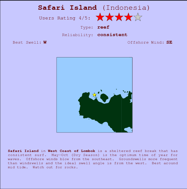 Safari Island break location map and break info