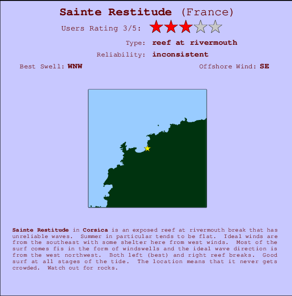 Sainte Restitude break location map and break info