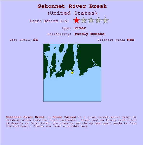 Sakonnet River Break break location map and break info