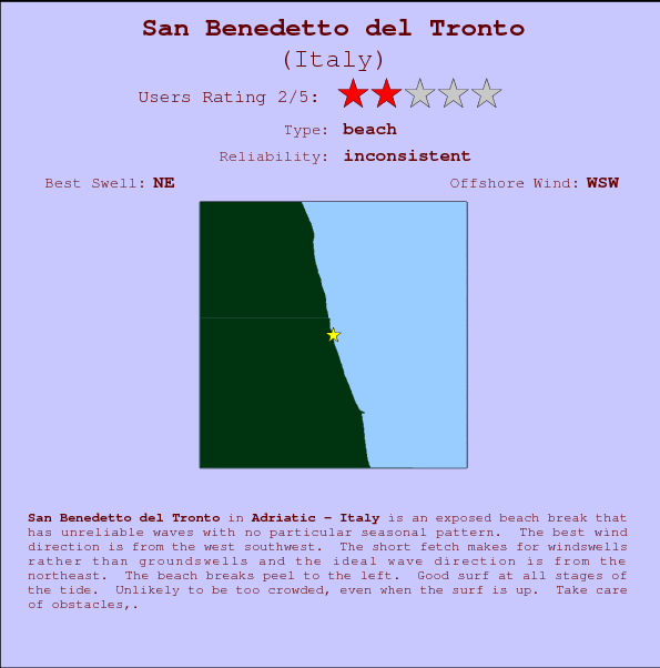San Benedetto del Tronto break location map and break info