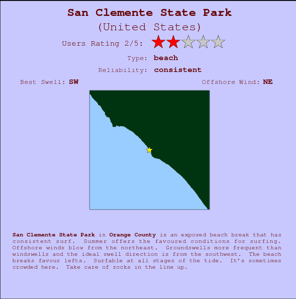 San Clemente State Park break location map and break info