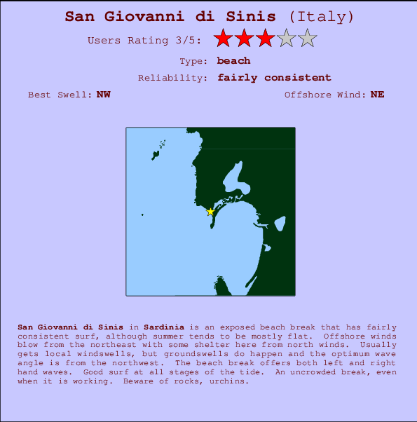 San Giovanni di Sinis break location map and break info