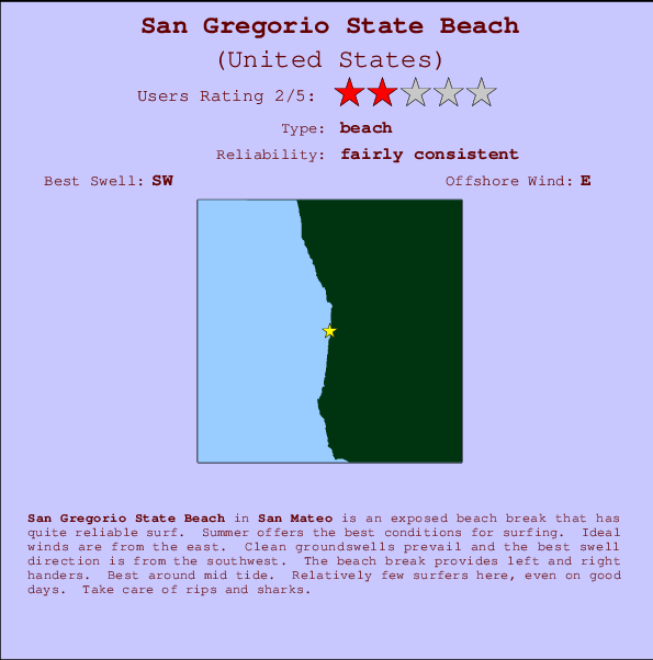 San Gregorio State Beach break location map and break info