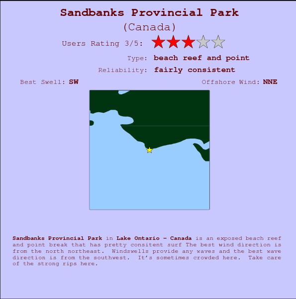 Sandbanks Provincial Park break location map and break info