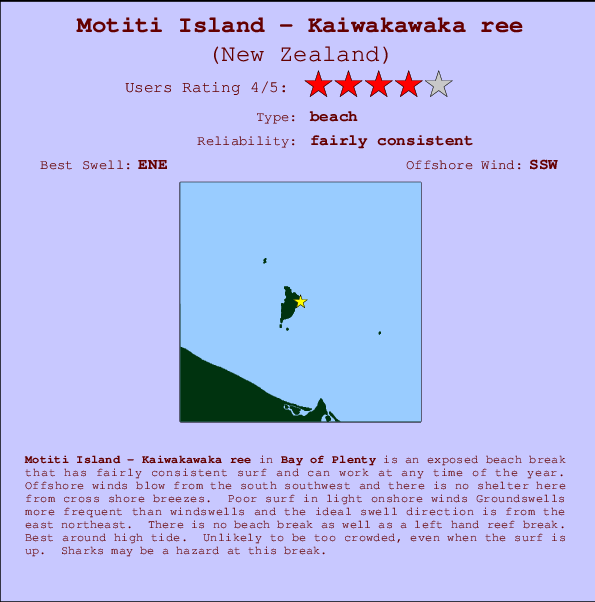 Motiti Island - Kaiwakawaka ree break location map and break info