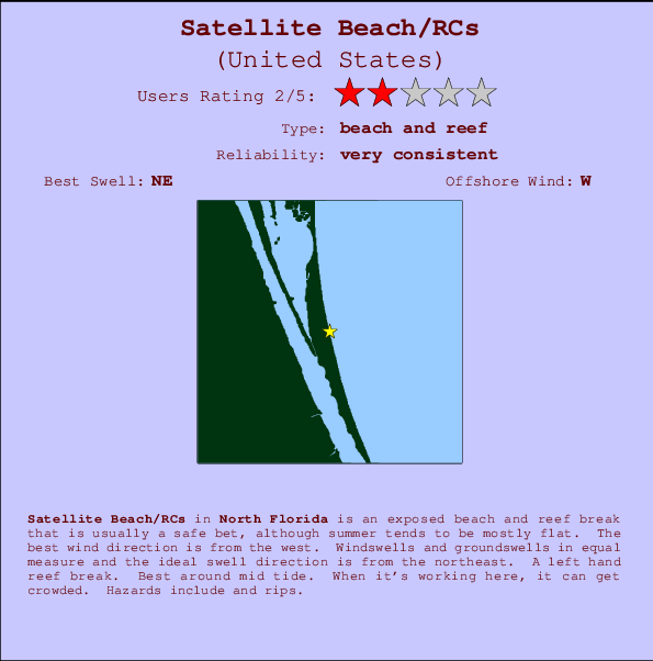 Satellite Beach/RCs break location map and break info