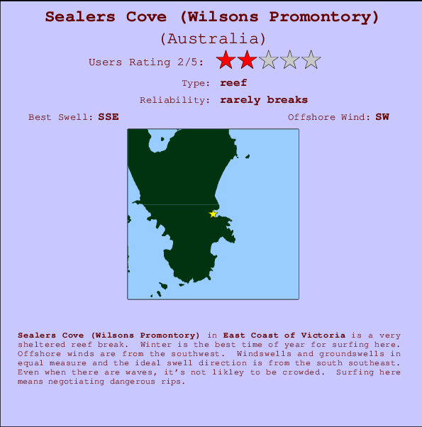 Sealers Cove (Wilsons Promontory) break location map and break info