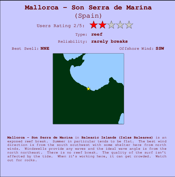 Mallorca - Son Serra de Marina break location map and break info