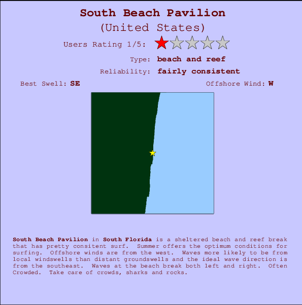 South Beach Pavilion break location map and break info