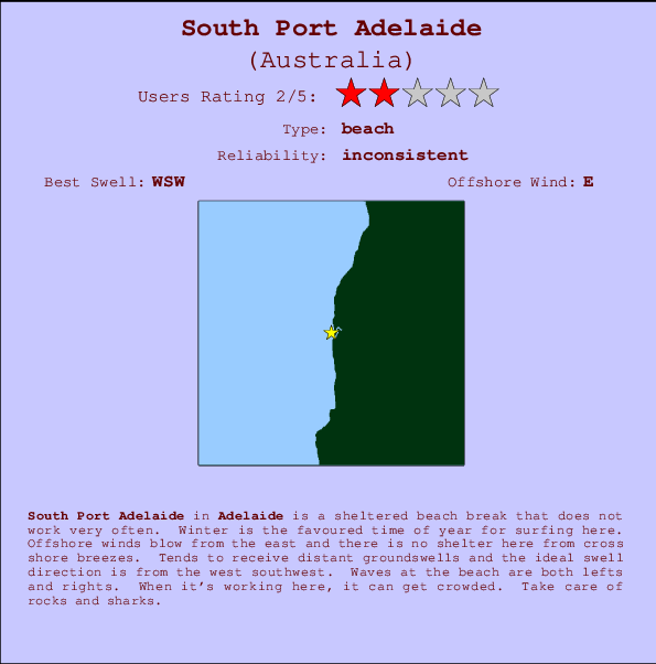 South Port Adelaide break location map and break info