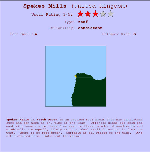 Spekes Mills break location map and break info