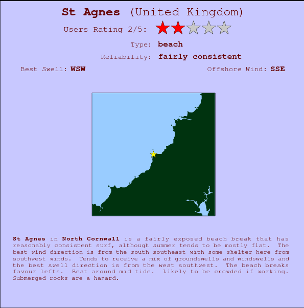 St Agnes break location map and break info