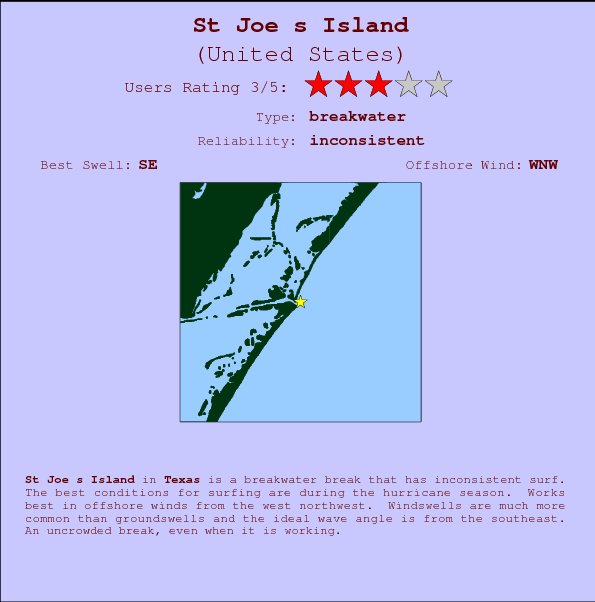 St Joe s Island break location map and break info