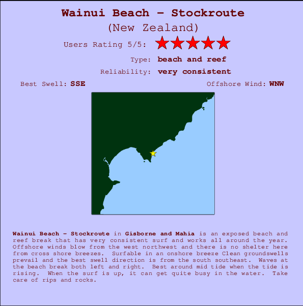 Wainui Beach - Stockroute break location map and break info