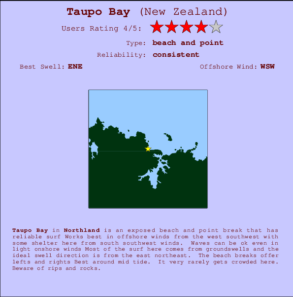 Taupo Bay break location map and break info