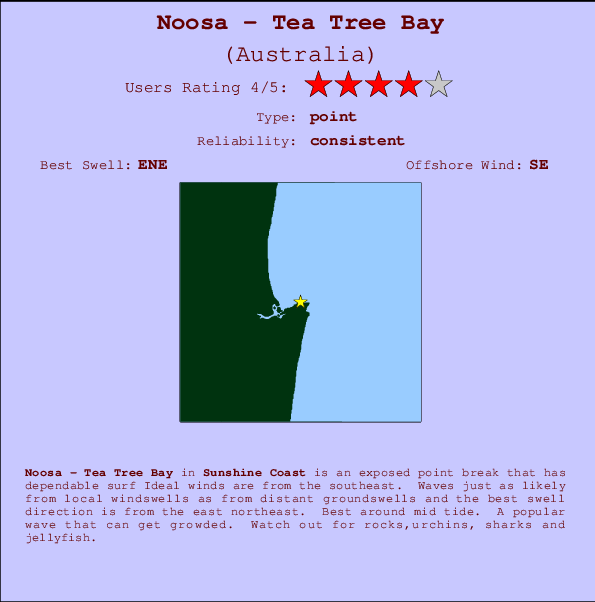 Noosa - Tea Tree Bay break location map and break info