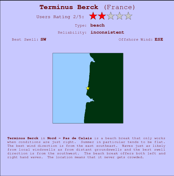 Terminus Berck break location map and break info