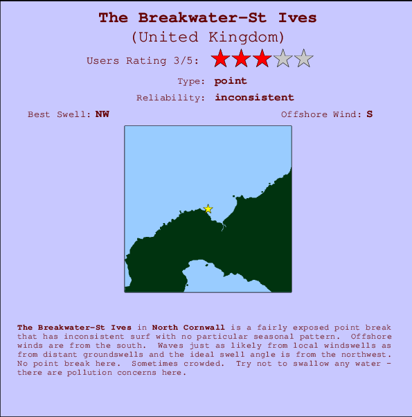 The Breakwater-St Ives break location map and break info