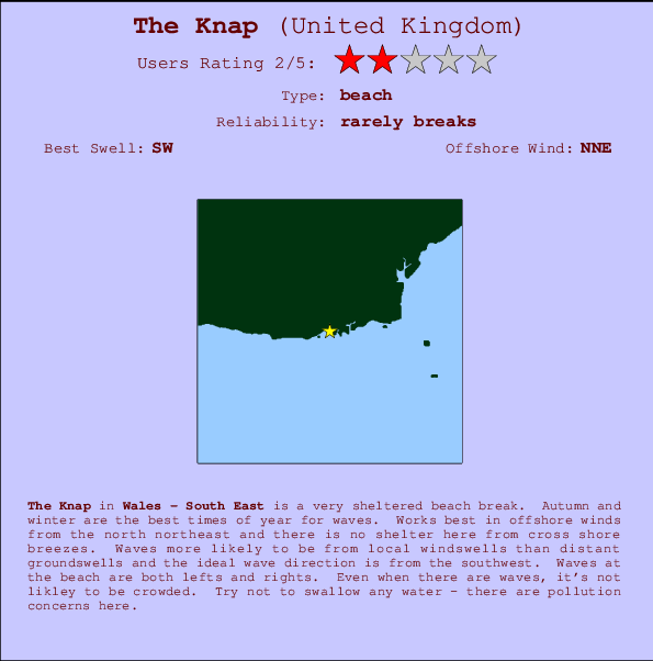 The Knap break location map and break info