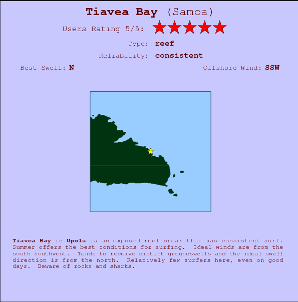 Tiavea Bay break location map and break info