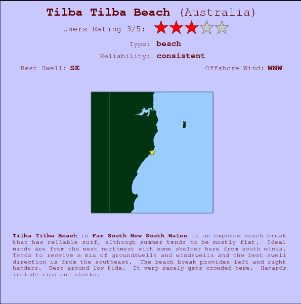 Tilba Tilba Beach break location map and break info