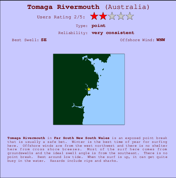 Tomaga Rivermouth break location map and break info