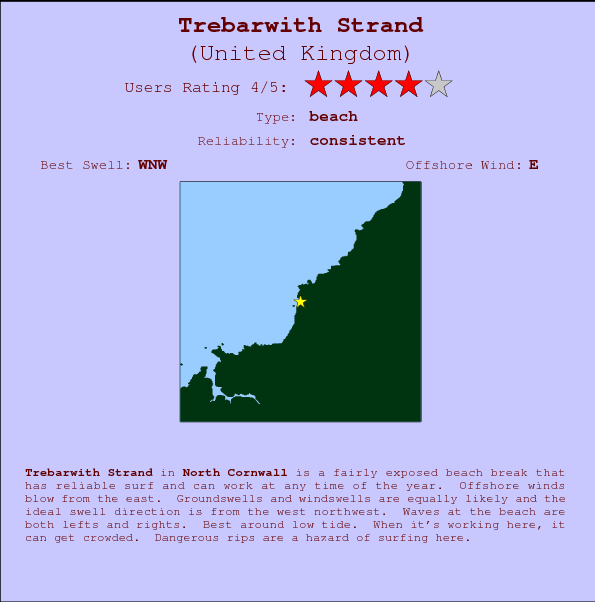 Trebarwith Strand break location map and break info