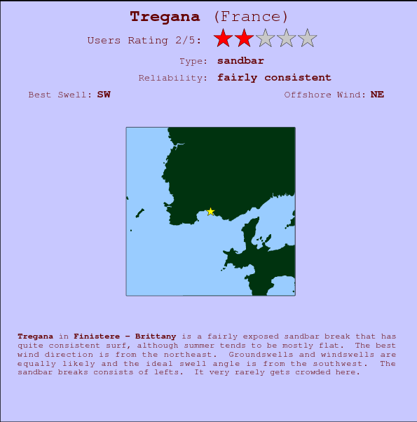 Tregana break location map and break info
