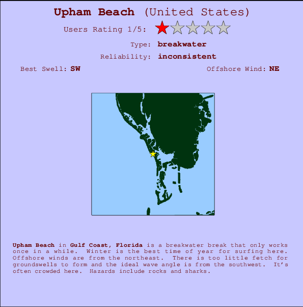 Upham Beach break location map and break info