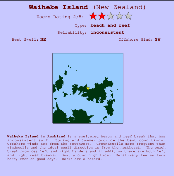 Waiheke Island break location map and break info