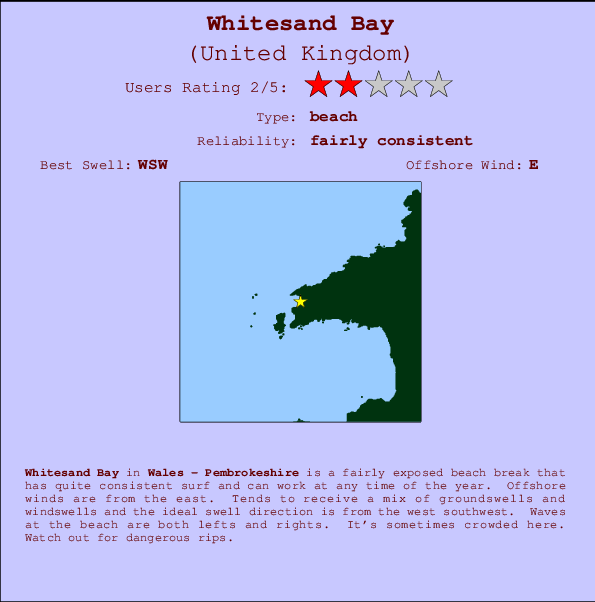 Whitesand Bay break location map and break info