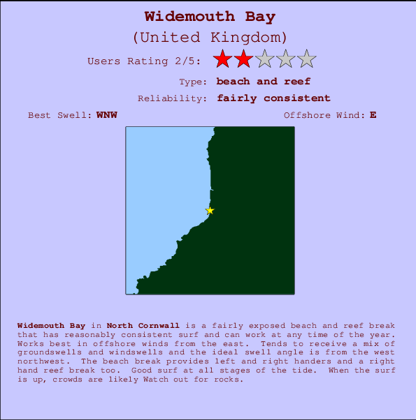 Widemouth Bay break location map and break info