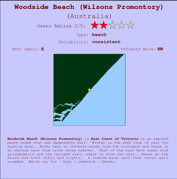 Woodside Beach (Wilsons Promontory) break location map and break info