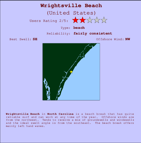 Wrightsville Beach break location map and break info