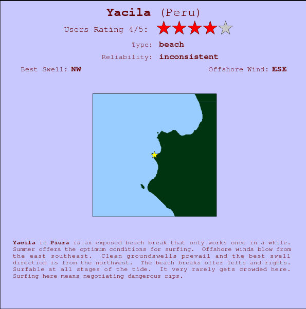 Yacila break location map and break info