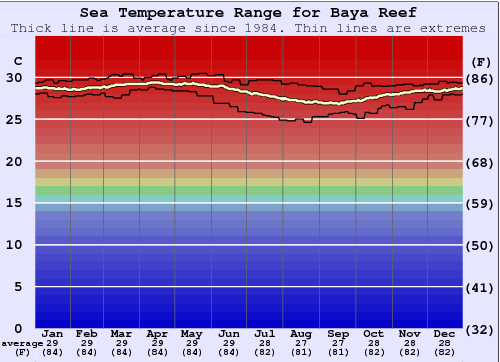 Baya Reef Water Temperature Graph